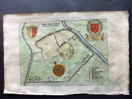 Dugdale 1682 Hand Col Map. Areae Spaldingensis. Spalding, Lincolnshire